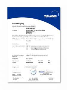 DIN 2303 Certificate