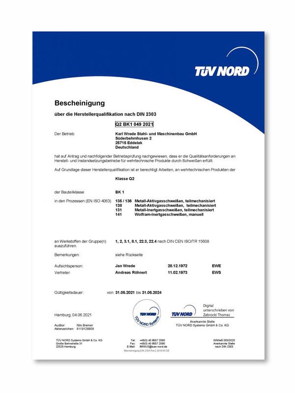 DIN 2303 Zertifikat